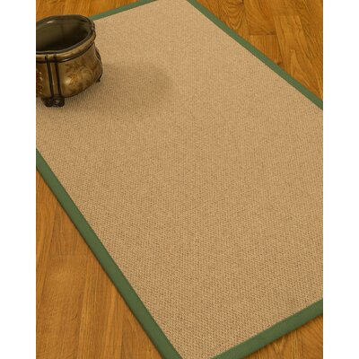 Chavira Border Hand-Woven Wool Beige/Green Area Rug Rug Size: Rectangle 9 x 12, Rug Pad Included: Yes