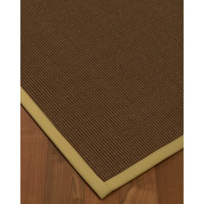 Heider Border Hand-Woven Brown/Sand Area Rug Rug Size: Rectangle 6 x 9, Rug Pad Included: Yes