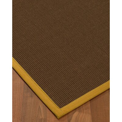 Heider Border Hand-Woven Brown/Tan Area Rug Rug Size: Rectangle 5 x 8, Rug Pad Included: Yes
