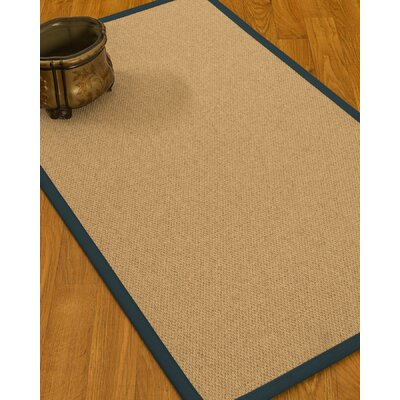 Chavira Border Hand-Woven Wool Beige/Marine Area Rug Rug Size: Rectangle 9 x 12, Rug Pad Included: Yes