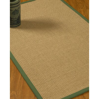 Jacobs Border Hand-Woven Beige/Green Area Rug Rug Size: Rectangle 6 x 9, Rug Pad Included: Yes