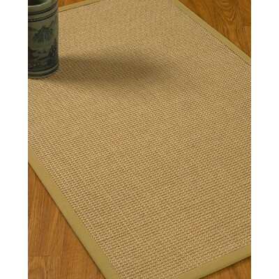 Jacobs Border Hand-Woven Beige/Khaki Area Rug Rug Size: Rectangle 4 x 6, Rug Pad Included: Yes