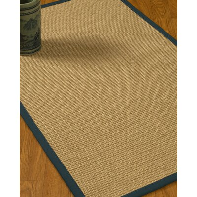 Jacobs Border Hand-Woven Beige/Marine Area Rug Rug Size: Runner 26 x 8, Rug Pad Included: No