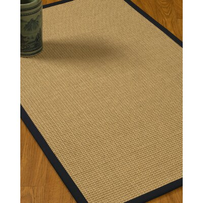 Jacobs Border Hand-Woven Beige/Midnight Blue Area Rug Rug Size: Rectangle 9 x 12, Rug Pad Included: Yes