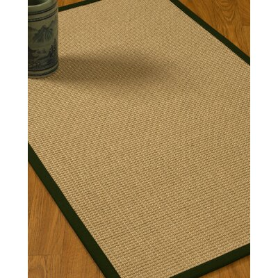 Jacobs Border Hand-Woven Beige/Moss Area Rug Rug Size: Rectangle 4 x 6, Rug Pad Included: Yes