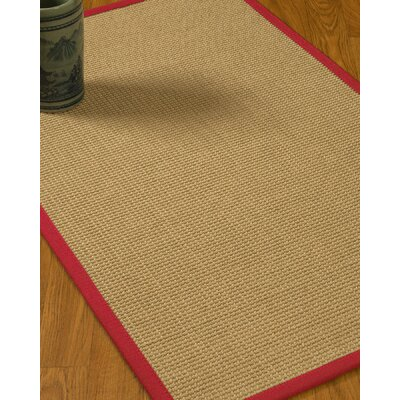Jacobs Border Hand-Woven Beige/Red Area Rug Rug Size: Rectangle 5 x 8, Rug Pad Included: Yes
