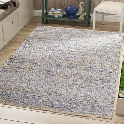 Arria Hand-Woven Natural/Blue Jute Area Rug Rug Size: Rectangle 5 x 8