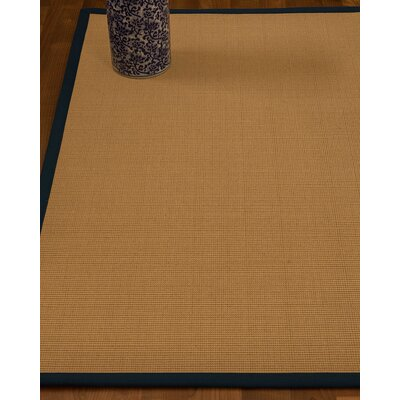 Magruder Border Hand-Woven Wool Beige/Marine Area Rug Rug Size: Runner 26 x 8, Rug Pad Included: No
