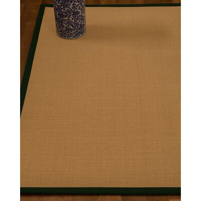 Magruder Border Hand-Woven Wool Blend Beige/Moss Area Rug Rug Size: Rectangle 9 x 12, Rug Pad Included: Yes