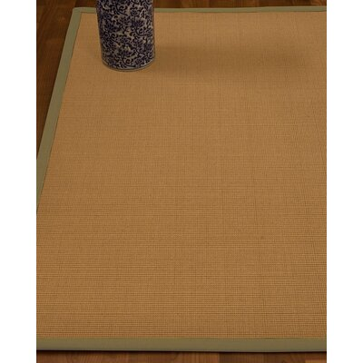 Magruder Border Hand-Woven Wool Blend Beige/Natural Area Rug Rug Size: Rectangle 8 x 10, Rug Pad Included: Yes