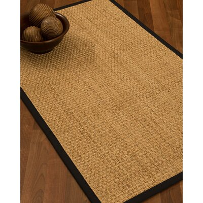 Caster Border Hand-Woven Beige/Black Area Rug Rug Size: Rectangle 6 x 9, Rug Pad Included: Yes