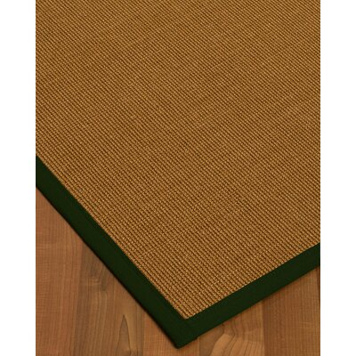 Antonina Border Hand-Woven Brown/Moss Area Rug Rug Size: Runner 26 x 8, Rug Pad Included: No