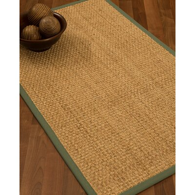 Caster Border Hand-Woven Beige/Fossil Area Rug Rug Size: Rectangle 8 x 10, Rug Pad Included: Yes