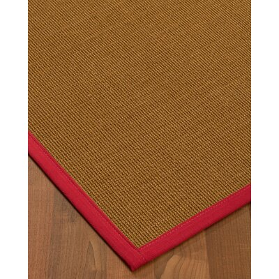 Antonina Border Hand-Woven Brown/Red Area Rug Rug Size: Rectangle 5 x 8, Rug Pad Included: Yes