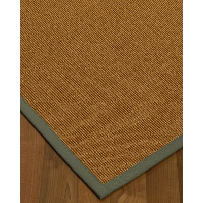 Antonina Border Hand-Woven Brown/Stone Area Rug Rug Size: Rectangle 6 x 9, Rug Pad Included: Yes