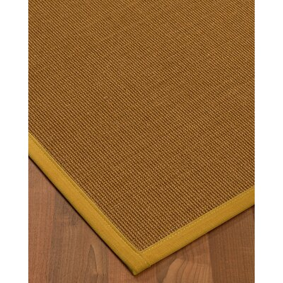 Antonina Border Hand-Woven Brown/Tan Area Rug Rug Size: Rectangle 5 x 8, Rug Pad Included: Yes