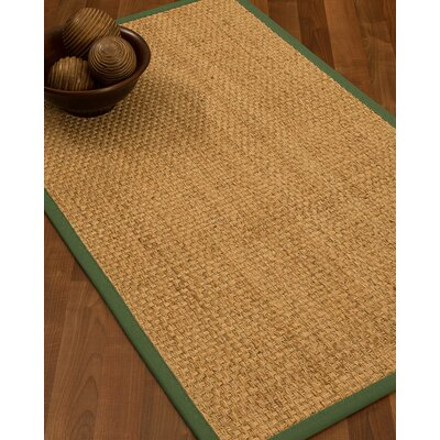 Caster Border Hand-Woven Beige/Green Area Rug Rug Size: Rectangle 6 x 9, Rug Pad Included: Yes