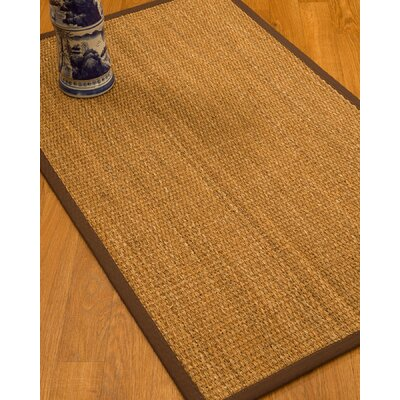 Kimberwood Border Hand-Woven Brown/Dark Brown Area Rug Rug Size: Runner 26 x 8, Rug Pad Included: No