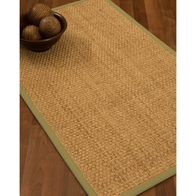 Caster Border Hand-Woven Beige/Khaki Area Rug Rug Size: Rectangle 5 x 8, Rug Pad Included: Yes