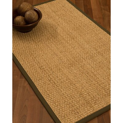 Caster Border Hand-Woven Beige/Malt Area Rug Rug Size: Rectangle 12 x 15, Rug Pad Included: Yes