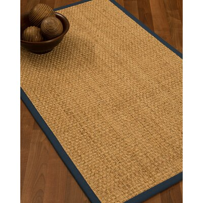 Caster Border Hand-Woven Beige/Marine Area Rug Rug Size: Runner 26 x 8, Rug Pad Included: No