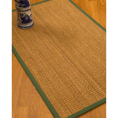 Kimberwood Border Hand-Woven Brown/Green Area Rug Rug Size: Rectangle 5 x 8, Rug Pad Included: Yes