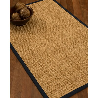 Caster Border Hand-Woven Beige/Midnight Blue Area Rug Rug Size: Runner 26 x 8, Rug Pad Included: No
