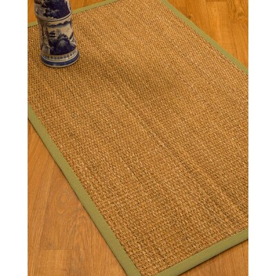 Kimberwood Border Hand-Woven Brown/Green Area Rug Rug Size: Rectangle 4 x 6, Rug Pad Included: Yes