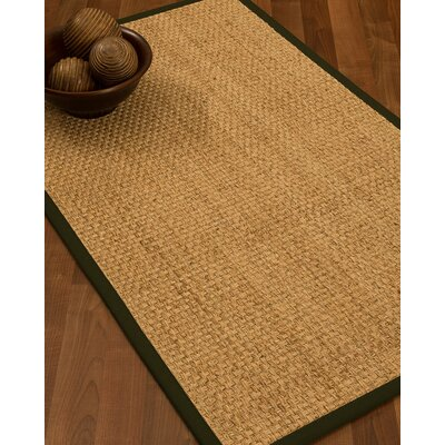 Caster Border Hand-Woven Beige/Moss Area Rug Rug Size: Rectangle 5 x 8, Rug Pad Included: Yes