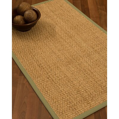 Caster Border Hand-Woven Beige/Natural Area Rug Rug Size: Rectangle 8 x 10, Rug Pad Included: Yes