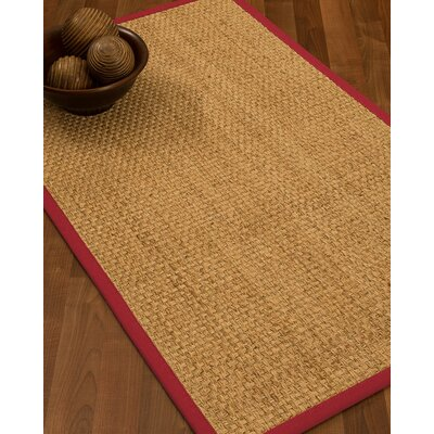 Caster Border Hand-Woven Beige/Red Area Rug Rug Size: Rectangle 6 x 9, Rug Pad Included: Yes