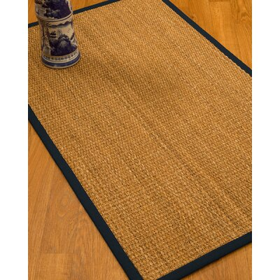 Kimberwood Border Hand-Woven Brown/Midnight Blue Area Rug Rug Size: Rectangle 8 x 10, Rug Pad Included: Yes
