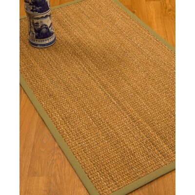 Kimberwood Border Hand-Woven Brown/Natural Area Rug Rug Size: Rectangle 5 x 8, Rug Pad Included: Yes