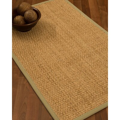 Caster Border Hand-Woven Beige/Sand Area Rug Rug Size: Rectangle 8 x 10, Rug Pad Included: Yes