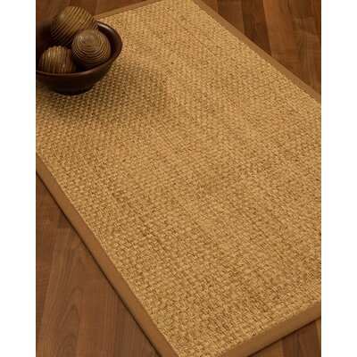 Caster Border Hand-Woven Beige Area Rug Rug Size: Rectangle 5 x 8, Rug Pad Included: Yes