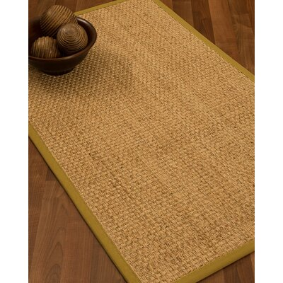 Caster Border Hand-Woven Beige/Tan Area Rug Rug Size: Rectangle 5 x 8, Rug Pad Included: Yes