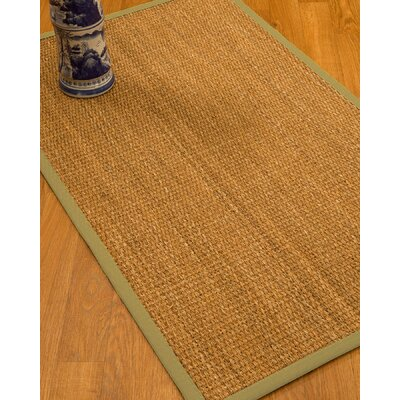 Kimberwood Border Hand-Woven Brown/Sand Area Rug Rug Size: Rectangle 8 x 10, Rug Pad Included: Yes