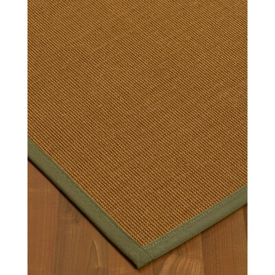 Antonina Border Hand-Woven Brown/Fossil Area Rug Rug Size: Rectangle 6 x 9, Rug Pad Included: Yes