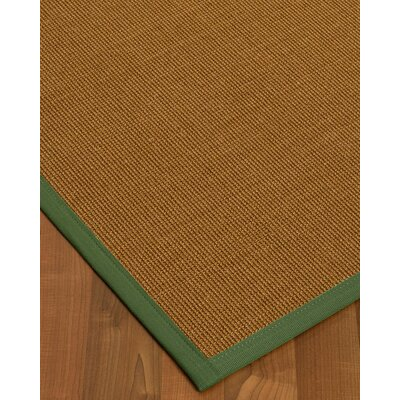 Antonina Border Hand-Woven Brown/Green Area Rug Rug Size: Rectangle 9 x 12, Rug Pad Included: Yes