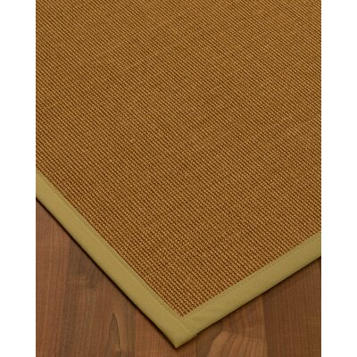 Antonina Border Hand-Woven Brown/Khaki Area Rug Rug Size: Rectangle 6 x 9, Rug Pad Included: Yes