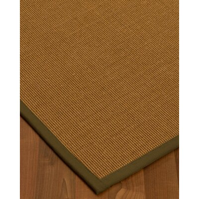 Antonina Border Hand-Woven Brown/Malt Area Rug Rug Size: Rectangle 6 x 9, Rug Pad Included: Yes