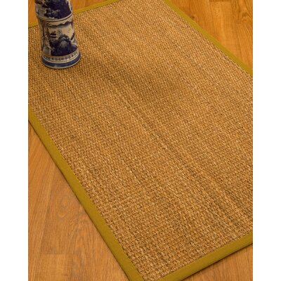 Kimberwood Border Hand-Woven Brown/Tan Area Rug Rug Size: Rectangle 5 x 8, Rug Pad Included: Yes