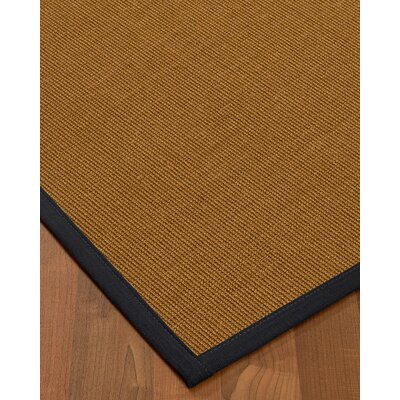 Antonina Border Hand-Woven Brown/Midnight Blue Area Rug Rug Size: Rectangle 9 x 12, Rug Pad Included: Yes