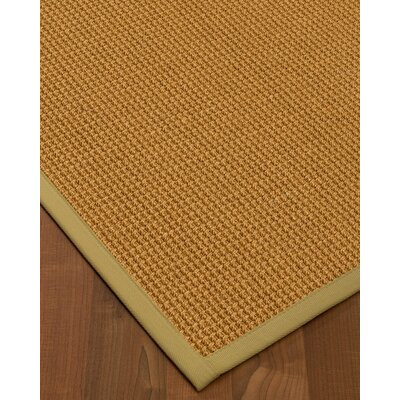 Aula Border Hand-Woven Brown/Sand Area Rug Rug Size: Runner 26 x 8, Rug Pad Included: No