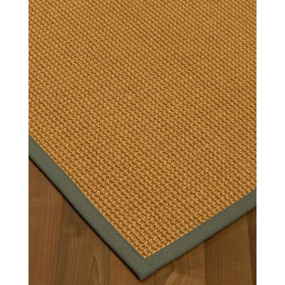 Aula Border Hand-Woven Brown/Stone Area Rug Rug Size: Runner 26 x 8, Rug Pad Included: No