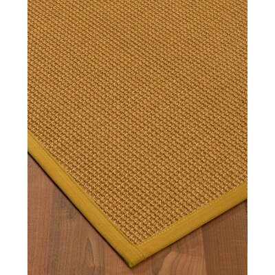 Aula Border Hand-Woven Brown/Tan Area Rug Rug Size: Rectangle 2' x 3', Rug Pad Included: No