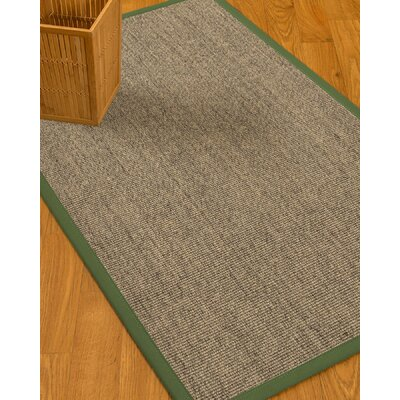 Mahan Border Hand-Woven Gray/Green Area Rug Rug Size: Rectangle 9 x 12, Rug Pad Included: Yes