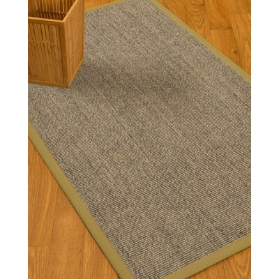 Mahan Border Hand-Woven Gray/Khaki Area Rug Rug Size: Rectangle 12 x 15, Rug Pad Included: Yes