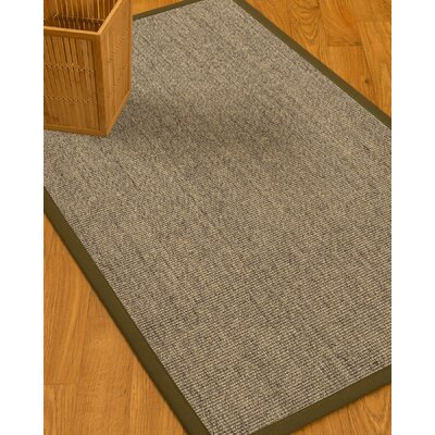 Mahan Border Hand-Woven Gray Area Rug Rug Size: Rectangle 5 x 8, Rug Pad Included: Yes
