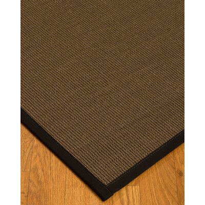 Kerner Border Hand-Woven Brown/Black Area Rug Rug Size: Rectangle 5 x 8, Rug Pad Included: Yes